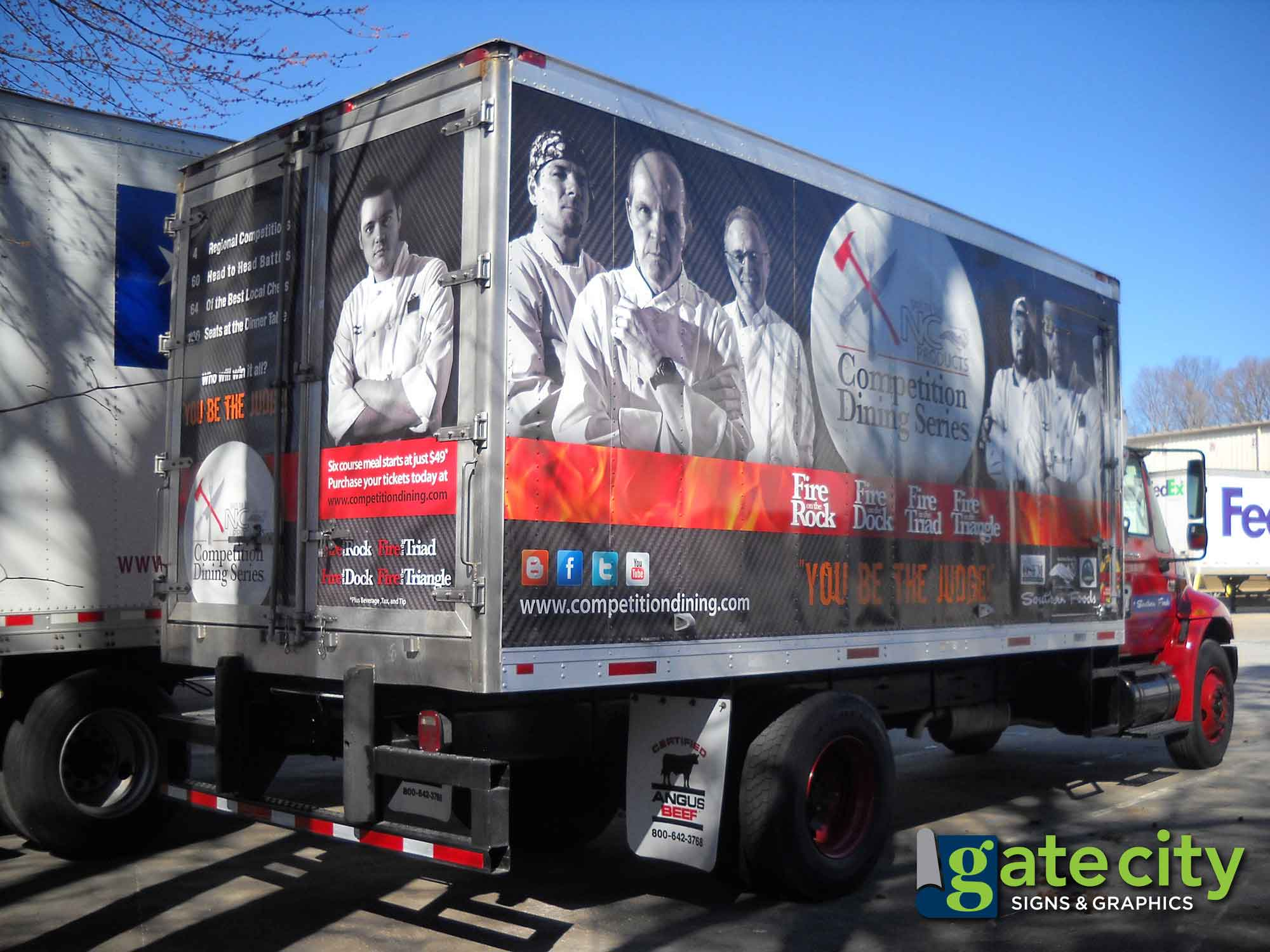 box truck wraps promote the competition dining series in greensboro nc gate city signs graphics. Black Bedroom Furniture Sets. Home Design Ideas
